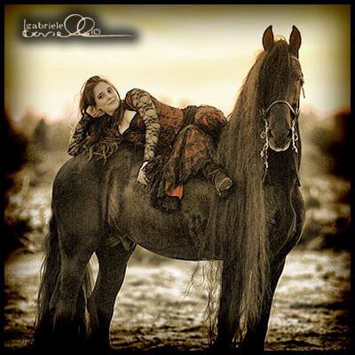 Taking a break on a horse.